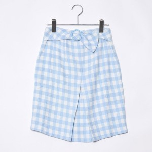 【SALE 72%OFF】ミーア プロデュースド バイ ルーミィーズ MIIA produced by Roomy's OUTLET バックルギンガムチェックスカート (ブルー)