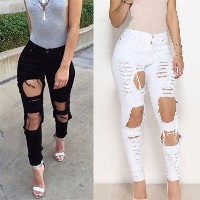 Women Stretch Ripped Skinny Denim Jeans Pants Hole Pencil Jeans