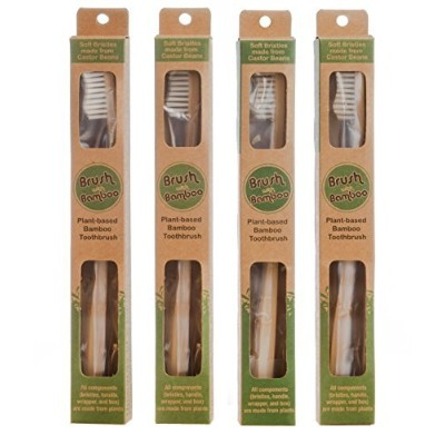 Plant-based Bamboo Toothbrush Adult Size 4 Pack by Brush with Bamboo