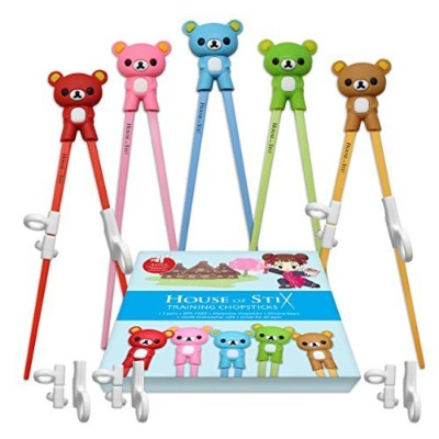 Training chopsticks for kids adults and beginners - 5 Pairs with BONUS learning chopstick helper -...