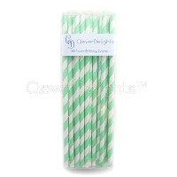 CleverDelights Biodegradable Paper Straws - Mint Stripe - Box of 100 by CleverDelights