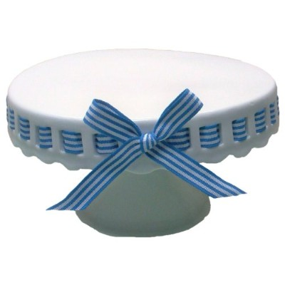 (25cm , Royal Blue and White Stripes Ribbon) - Gracie China 25cm Round Porcelain Skirted Cake Stand...