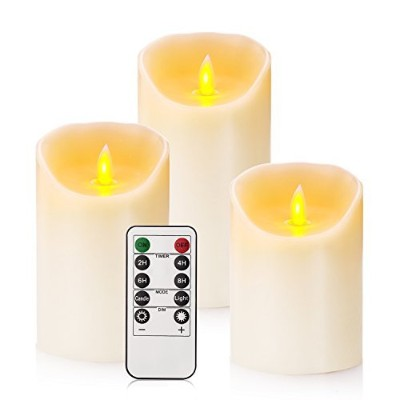 (Ivory3) - Flameless Candles Classic Real Wax Pillar With Moving LED Flame Inculde 10-key Remote...