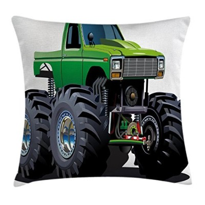 Carsスロー枕クッションカバーby Ambesonne、Giant Monster Pickup Truck with LargeタイヤとサスペンションExtreme Biggestホイール印刷...