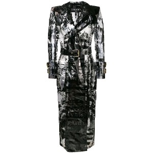 Balmain printed belted trench - ブラック