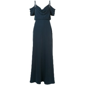 Tadashi Shoji cowl neck cut-out shoulder evening dress - ブルー