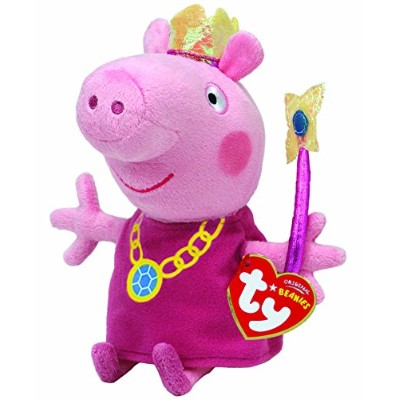(Peppa Pig Princess) - Peppa Pig Princess Peppa Beanie Baby, plush toys (Approximately 18cm tall)