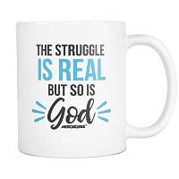 merchgeek The Struggle Is Real But So Is Godコーヒーマグ( 11 oz ,ホワイト)