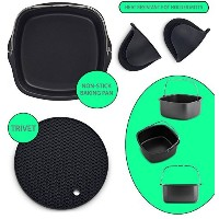 Nonstick Baking Pan 3- in - 1Air Fryerアクセサリーset-compatible with Philips Viva Airfryer–シリコンポットホルダ...