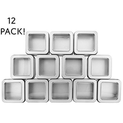 Square Silver Metal Tins w/ View Window (12-Pack); Empty 120ml Capacity Clear Top Metal Boxes Great...