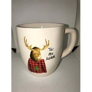Rare Rae Dunn byマゼンタクリスマスtis the season with Moose Elk in a Plaidシャツコーヒーティーマグ