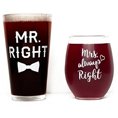 (470ml Beer Glass + 440ml Wine Glass) - Funny Wedding Gift - Mr. Right and Mrs. Always Right Wine...