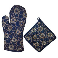 "miyanbazaz Textilesダブルオーブングローブ/ミット、8 – インチby 35 – インチ Size: Oven Mitt 13 X 6.65"" And Pot Holder 8 X..."