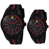 フェラーリMen 's ' Red Rev ' Quartzステンレススチールand Silicone Casual Watch , Color : Black ( Model : 0870017 )