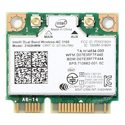 インテル Intel Dual Band Wireless-AC 3160 3160HMW  2.4/5GHz 433Mbps 802.11ac, a/b/g, n  Wi-Fi +...