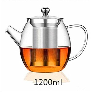 tealise高熱抵抗ティーポットwithステンレススチールfor Flower Tea and Loose Leaf Tea Pot 1200 ml
