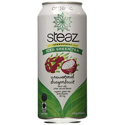 Steaz Organic Iced Green Tea, Unsweetened Dragonfruit, 16 Ounce (Pack of 12) by Steaz
