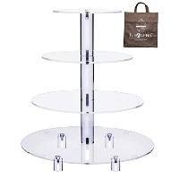 Jusalphaテつョ 4 Tier Acrylic Glass Round Cake Stand-cupcake Stand- Dessert Stand-tea Party Serving...
