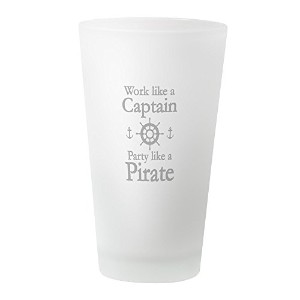 CafePress–Work Like AキャプテンParty Like a Pirate Drinking G–パイントガラス、16オンスDrinkingガラス ホワイト...