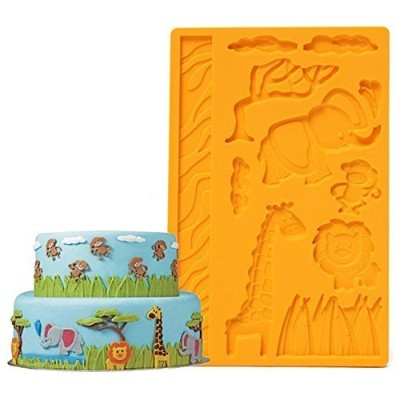 Mity rain 3D Lace Zoo Silicone Embossing Mould Animal Jungle World Fondant Cake Mould random colour