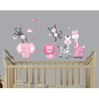 Mini Jungle Wall Decal for Nursery in Pink & Gray with Expedition Monkeys, Elephant and Lion by...