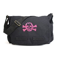 Black Heavyweight Canvas Messenger Bag Carry-All Diaper Bag with Glitter Pink Skull by Crazy Baby...