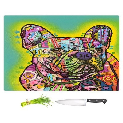 """DIANOCHEキッチンカッティングボードby Dean Russo–French Bulldog Dog 3 Large 15"""" x 11"""" CB-DeanRussoFrenchBullDog3..."""