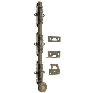 Idh by St. Simons 11224-005 Solid Brass Ornamental Bolt with Round Knob, Antique Brass - 24 in.