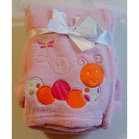 Snugly Baby Embroidered Girl Blanket Pink Worm by Snugly Baby