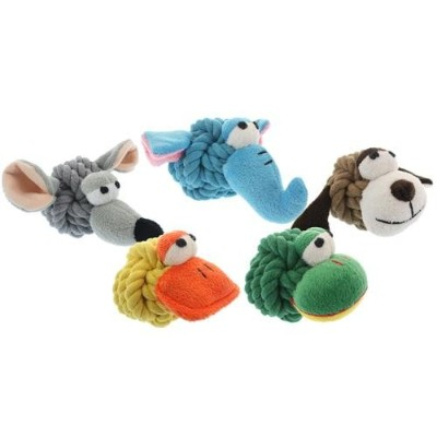 Multipet 4-Inch Rope Head Mouse Dog Toy with Plush Face by Multi Pet