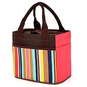 Muitifunction Canvas Bento Lunch Bag for Picnic Travel Tote Lunch Bag with Rope Belt Stylish Gray...