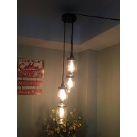 シャンデリアSwag Light with Ball Mason jars- noハード配線Just Hang It Up and Plug it in 4JrSwg.-BrzBlk