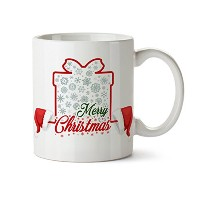 Merry Christmas in aギフトボックスとサンタ帽子磁器コーヒーマグ- 11oz- Best Holiday Gifts