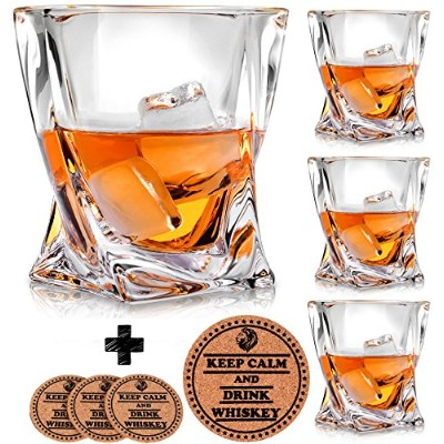 Twist Whiskey Glasses - Set of 4 - by Vaci + 4 Drink Coasters, Ultra Clarity Crystal Scotch Glass,...