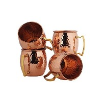 shreeng Pure Copper Moscow Mule Hammered Beer Mug with真鍮ハンドル – 4のセット