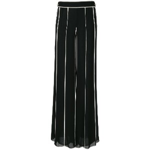 Edward Achour Paris striped palazzo pants - ブラック