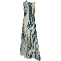 Rubin Singer flared printed gown - グリーン