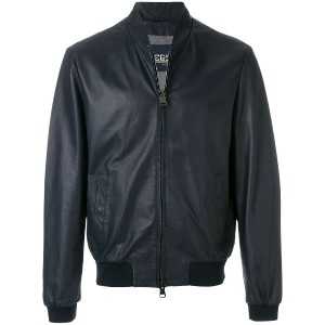 Herno leather bomber jacket - ブルー