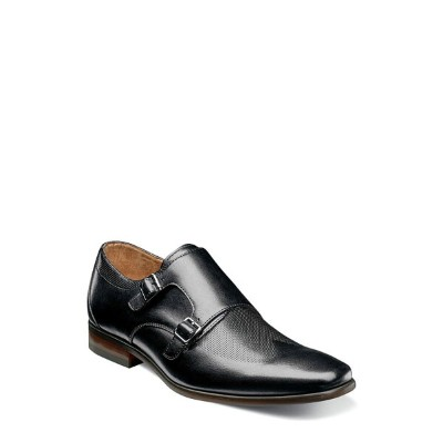 フローシャイム メンズ ドレスシューズ シューズ Florsheim Postino Textured Double Strap Monk Shoe (Men) Black Leather