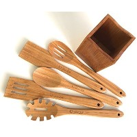 Super Smooth Luxury竹木製台所用具セット+ Free holder-ideal gift-box included-solid-splinter free-eco friendly...