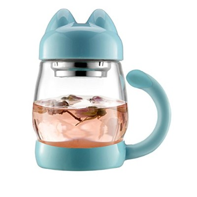 (Blue) - Cute Cat Tea Mugs - BZY1 420 ml/14 oz Portable Glass Tea Cup With a Lid and Strainer -...