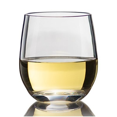 "Top Shelf Barware""Game Changer"" Unbreakable Stemless Wine Glasses, Thicker - Stronger - More..."