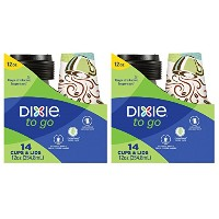 Dixie To Go使い捨てペーパーカップと蓋、14カウント、12オンスコーヒーカップ; Designs May Vary – パックof 2