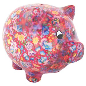 Bright Pink Floral Pig Money Box, Large Piggy Bank