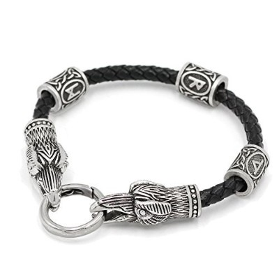 xicoh Viking RealレザーAmulet Odin Ravenブレスレットwith Viking Knot Amuletギフトバッグで3サイズSuite for Man andレディース...
