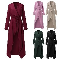 Womens Long Sleeve Maxi Belted Coat Jacket Casual V-Neck Trench Coats Women s Clothing Tops Shirt