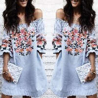 Fashion Sexy Floral Off Shoulder Ruffled Mini Dress 3/4 Flare Sleeve Casual Chic Party Dress