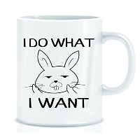 I Do What I Want Funny Bunny Middle Finger 11オンスコーヒーマグ – Grade Aセラミック – メンズ&レディース – クリスマス誕生日ギフトPrese...