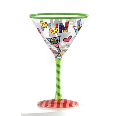 Romero Britto Martinis & Hearts Martini Glass
