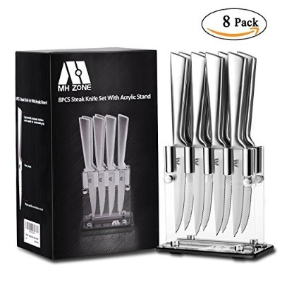 Steak Knives, MH ZONE Steak Knife Set of 8 with Acrylic Stand, Dishwasher Safe